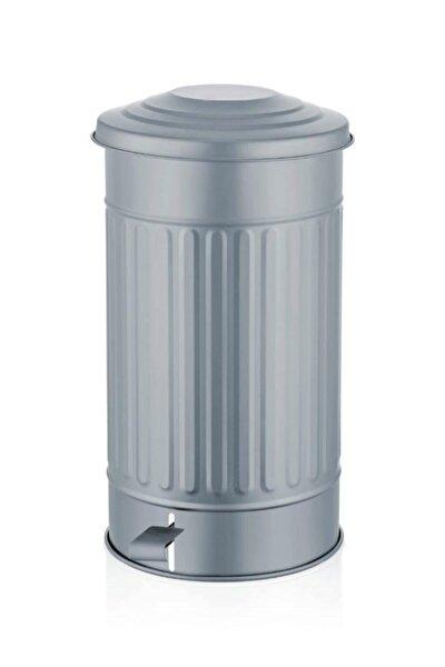 Galvaniz 30lt 50x30cm Orta Çöp Kovası Metalik Gri Tkn003