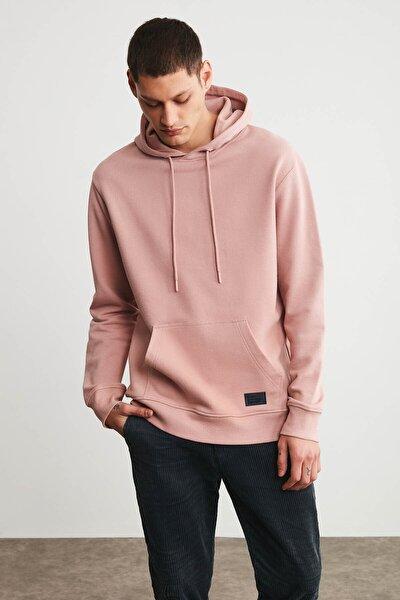 JORGE Erkek Pembe Basic Kapüşonlu Sweatshirt