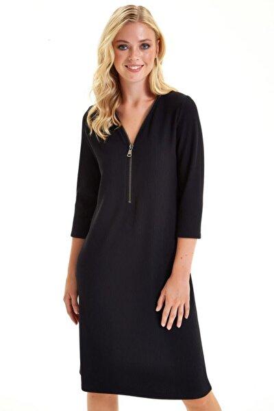 Yakası Fermuarlı Turvakar Kol Elbise 201-2506