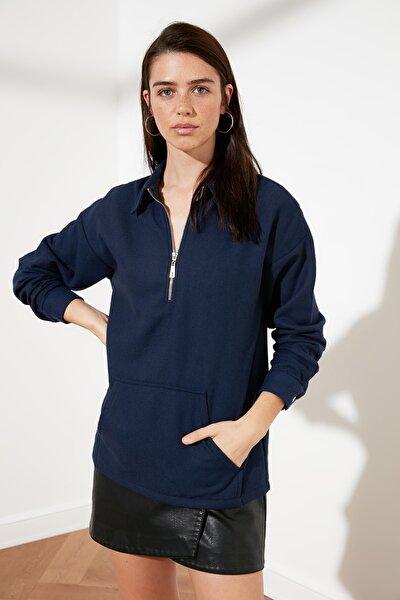Lacivert Fermuarlı Bluz TWOAW21BZ1422