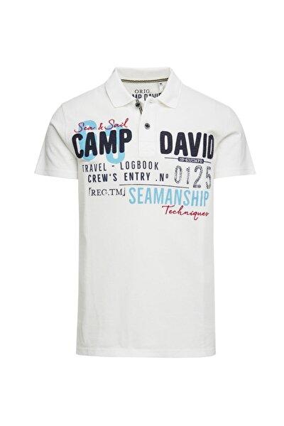 Erkek Beyaz Baskılı Polo Yaka T-shirt