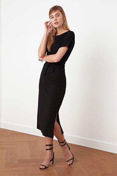 Siyah Bağlama Detaylı Örme Elbise TWOSS21EL0404