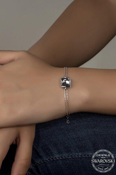Swarovski Crystal Kadın Asymmetric Square Gümüş Bileklik