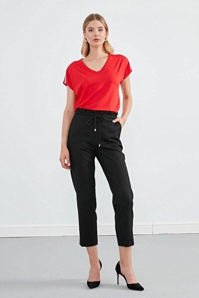 Pantolon- Kemer Üstü Pile Ve Grogren Detaylı, Önden Bağcıklı