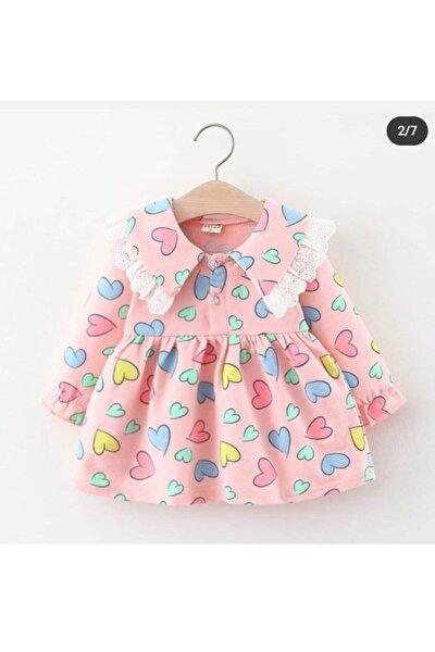 Kız Cocuk Kalp Detaylı Elbisemiz