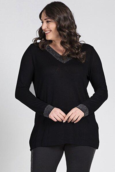 Kadın Siyah Sim Detaylı Uzun Kollu Bluz G051 1u
