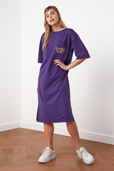 Mor Nakışlı Örme Elbise TWOSS21EL0175