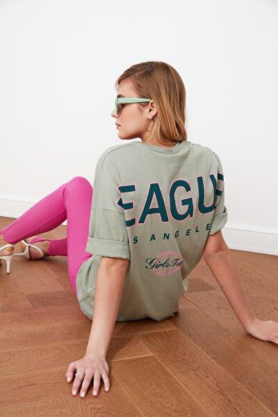 Mint Baskılı Oversize Örme T-Shirt TWOSS20TS0822