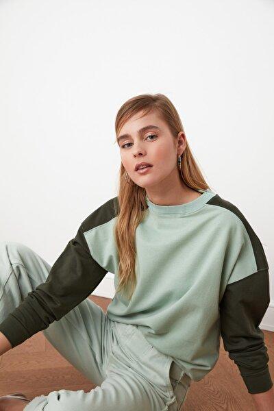 Mint Renk Bloklu Basic Örme Sweatshirt TWOSS21SW0126