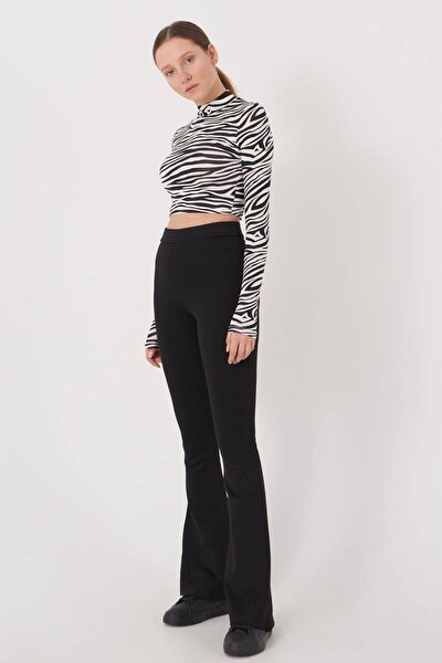 Kadın Siyah İspanyol Paça Tayt Pantolon ADX-00012474