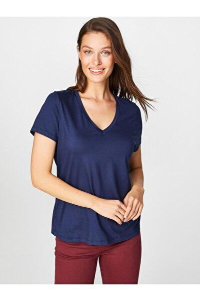 Kadın Lacivert V Yaka Kısa Kol T-shirt 00001