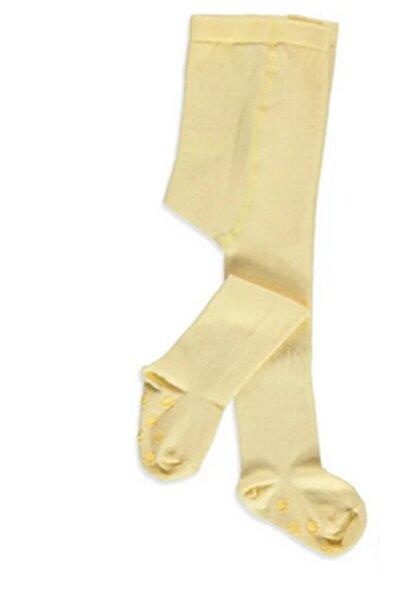 Unisex Çocuk Sarı Düz Kaydırmaz Külotlu Çorap