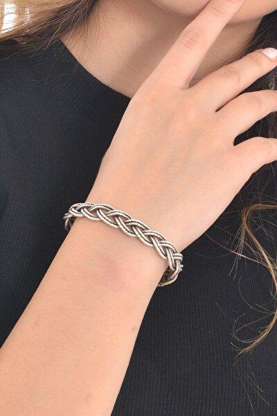 Kadın Antik Gümüş Kaplama Örme Bileklik