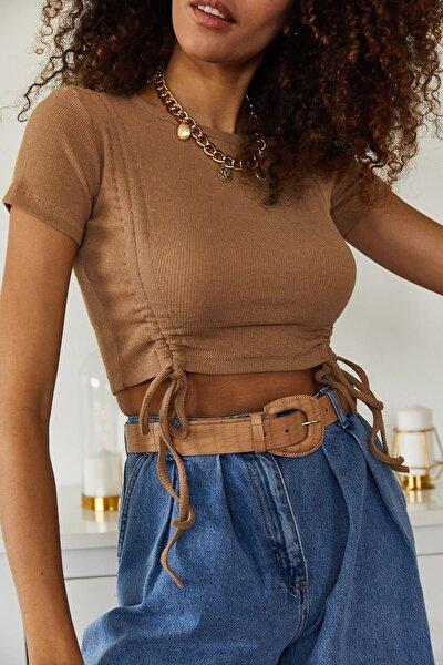Kadın Kahverengi Çift Büzgülü Kısa Kol Bluz 1KZK2-11172-18