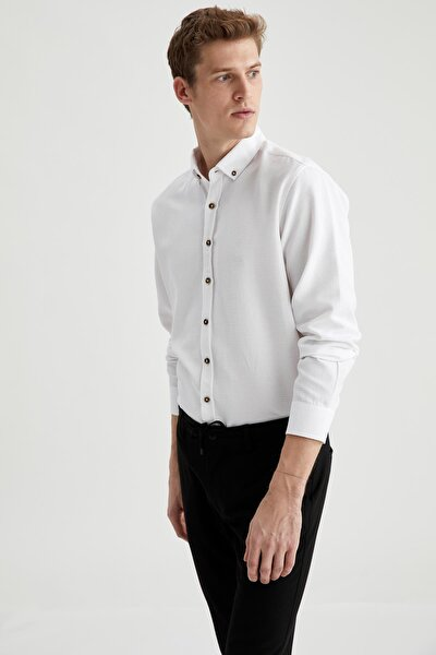 Erkek Beyaz Modern Fit Uzun Kollu Basic Gömlek