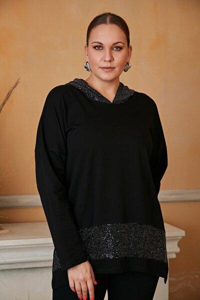 Kadın Siyah Kapşon Ve Eteği Pullu Büyük Beden Sweatshirt