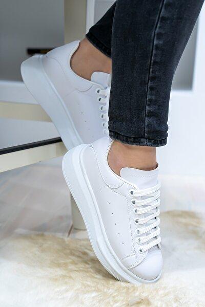 Unisex Beyaz Spor Ayakkabı Kalın Taban