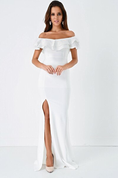 Fm Beyaz Volan Detaylı Yırtmaçlı Abiye Elbise
