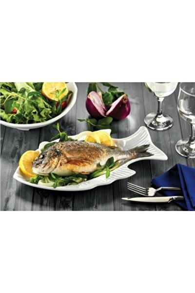 Balık Desenli Beyaz Servis Tabağı Thermo Melamin