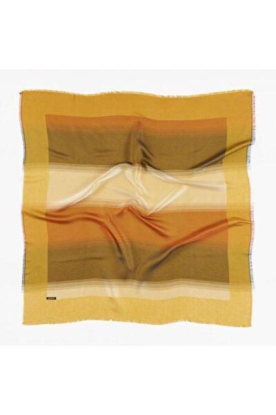 Kadın Sarı Kristal Renkli Desenli Eşarp