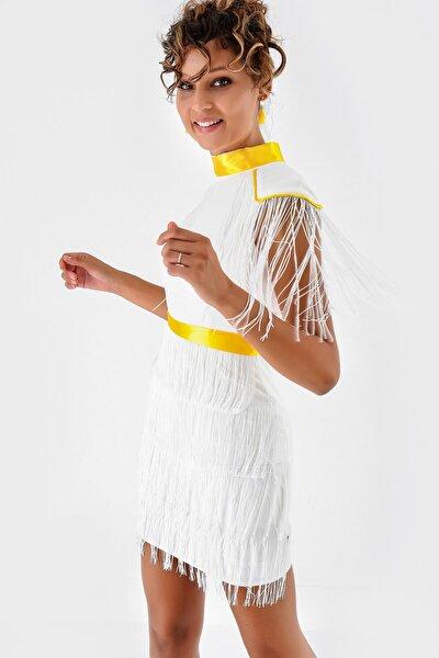 Beyaz Saçaklı Mini Elbise