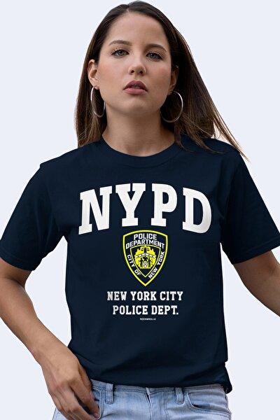 Kadın Lacivert Nypd Kısa Kollu T-shirt