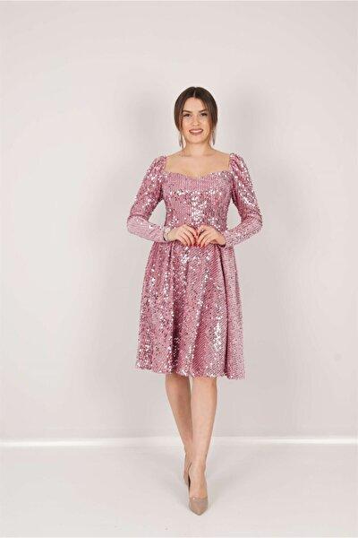 Kadife Payet Kalp Yaka Elbise - Pudra