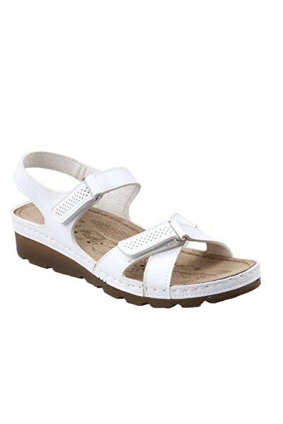 160107.51 Ortapedik Beyaz Bayan Sandalet