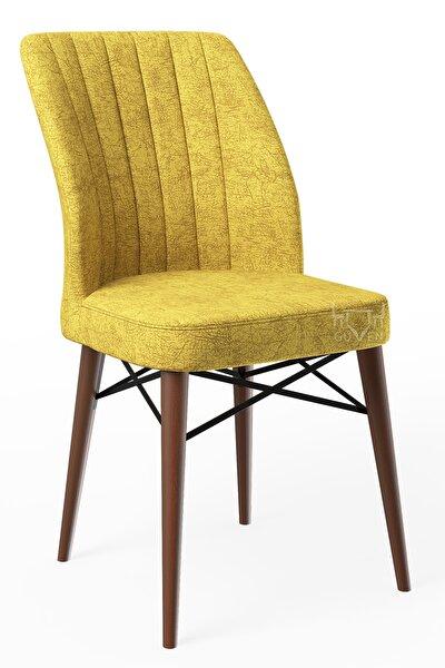 Ahenk Sarı Ahşap Ayaklı Mutfak Cafe Sandalyesi