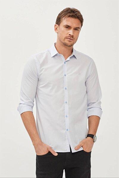 Erkek Mavi Düz Klasik Yaka Slim Fit Gömlek E002002