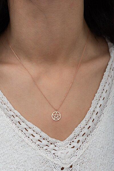 Gümüş Pentagram Kolye Pentagram Model Gümüş Kolye Dn462