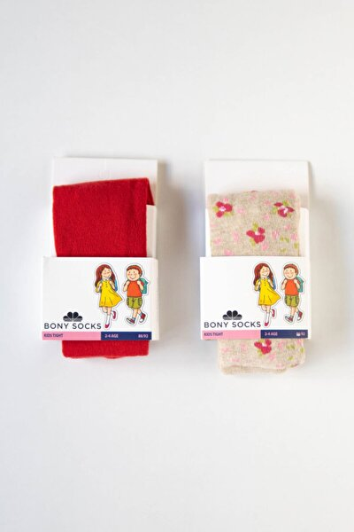 Kız Çocuk Kırmızı / Bej Külotlu Çorap 2'li