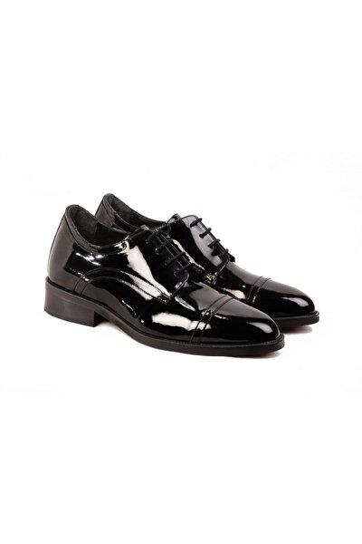 +7 Cm Siyah Rugan Gizli Topuklu Boy Uzatan Damat Ayakkabısı