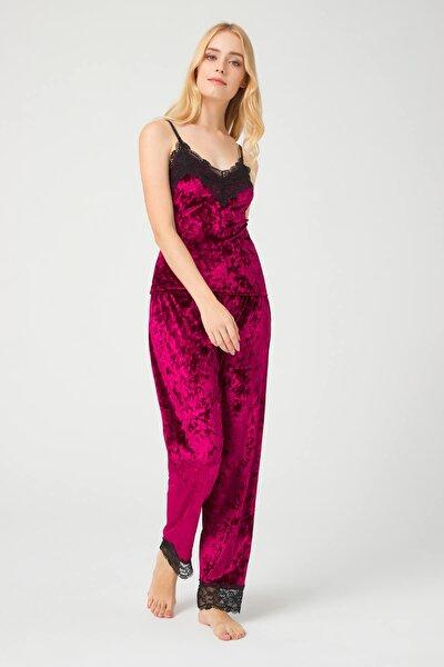 Vişne Dantel Detaylı Kadife Kadın Pijama Takımı