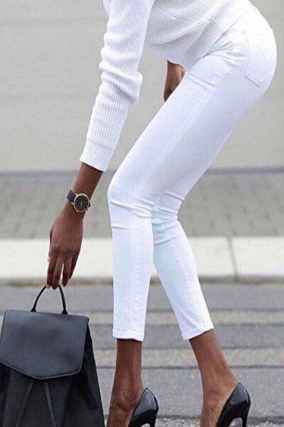 Kadın Beyaz Yüksek Bel Likralı Pantolon