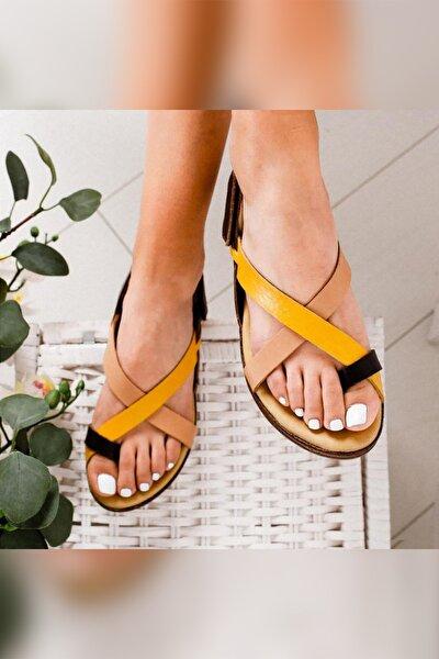 Emmalee Hardal Ten Siyah Hakiki Deri Comfort Sandalet