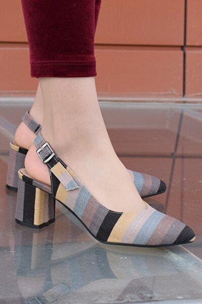 Kadın Desenli Kısa Topuk Arkası Açık Topuklu Ayakkabı