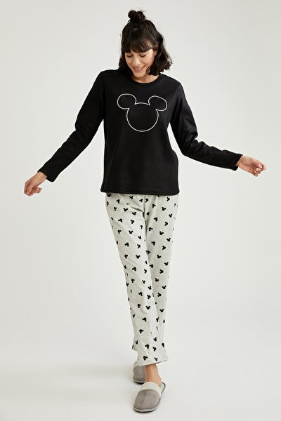 Mickey Mouse Lisanslı  Uzun Kollu Polar Pijama Takımı