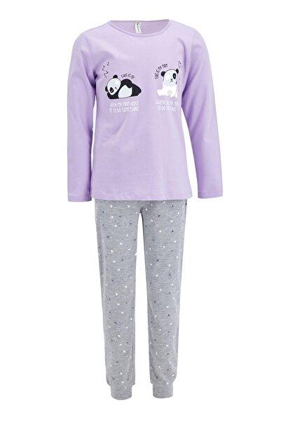 Kız Çocuk Gri Panda Baskılı Pijama Takımı