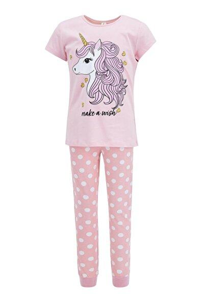 Kız Çocuk Pembe Unicorn Baskılı Pijama Takımı