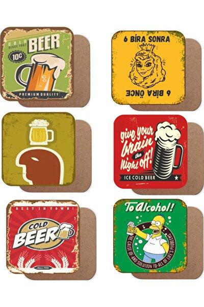 Bira Temalı 6lı Retro Ahşap Bardak Altlığı Seti