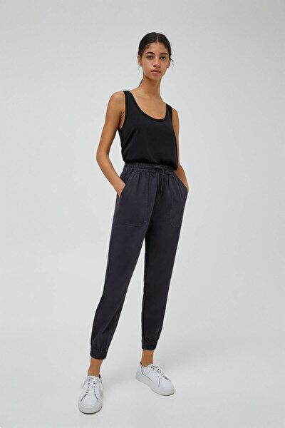 Kadın Siyah Yama Cepli Jogger Pantolon 04676320