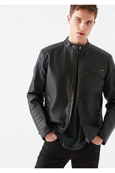 Suni Deri Siyah Biker Ceket