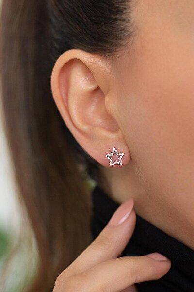 Beyaz Taşlı Yıldız Gümüş Küpe-rose