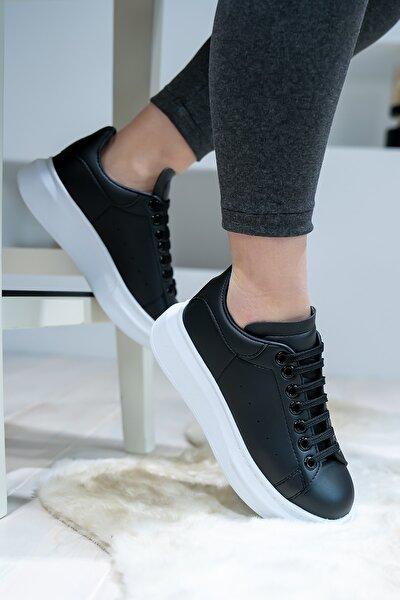 Unisex Siyah Günlük Kalın Taban Spor Ayakkabı