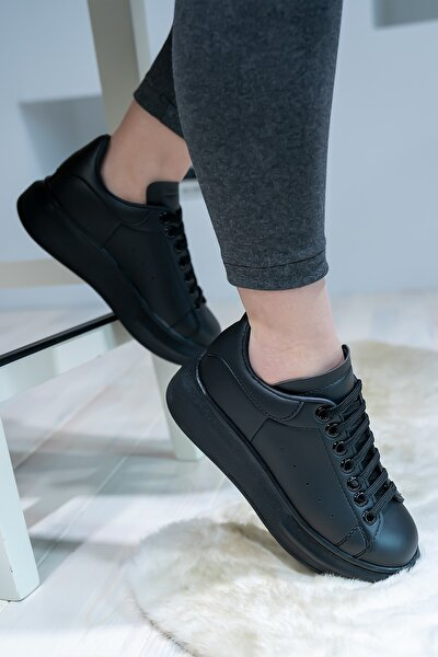 Unisex Spor Ayakkabı Kalın Taban Siyah