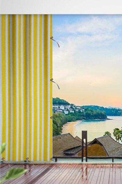 Her Ölçüde Enxboy Seçenekli Bağcıklı Balkon Perdesi Balkon Brandası Sarı Beyaz