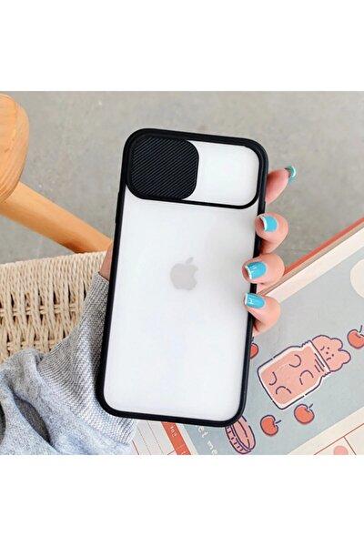 Iphone X Uyumlu Sürgülü Kamera Korumalı Mat Yüzeyli Siyah Kapak + Kırılmaz Cam