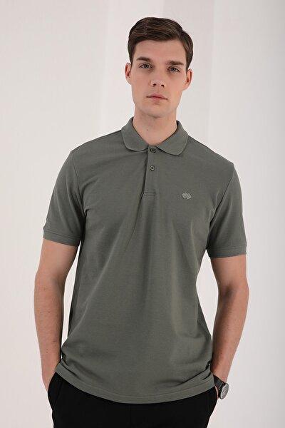 Erkek Basic Logolu Standart Kalıp Triko Polo Yaka T-shirt - 87748