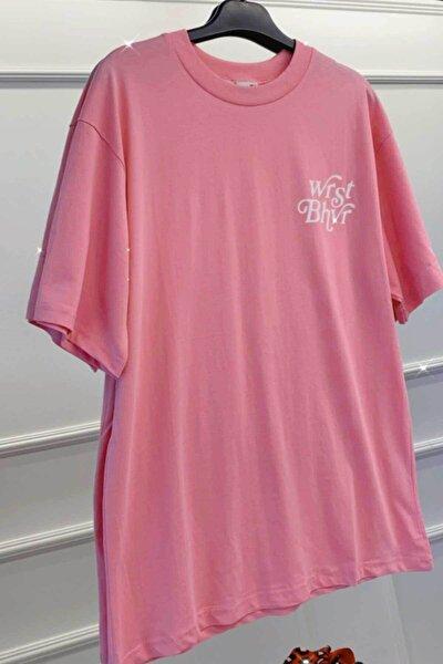 Unisex Pembe Sırtı ve Önü Yazı Detaylı Oversize Kesim T-shirt